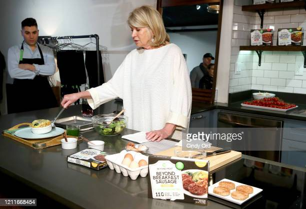 Martha Stewart prepares the Classic Beyond Breakfast Sausage with Spinach and Sweet Onion Frittata on March 10, 2020 in New York City.