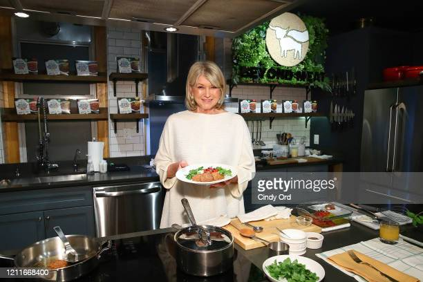 Martha Stewart prepares the Spicy Beyond Breakfast Sausage with Creamy Grits and Roasted Tomatoes on March 10, 2020 in New York City.