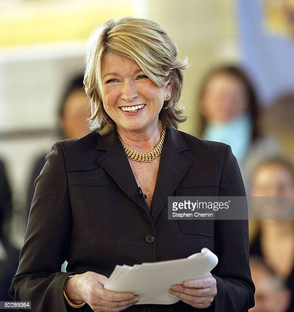 Martha Stewart smiles as she speaks to an audience of her employees and the media on her first day back to her offices since her incarceration March...