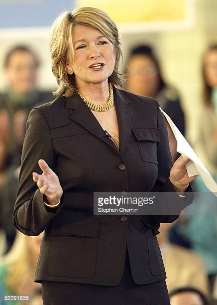 Martha Stewart speaks to an audience of her employees and the media on her first day back to her offices since her incarceration March 7 2005 in New...