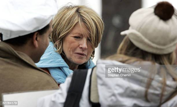 Martha Stewart speaks with visitors from Save Marthacom during a walk on her Katonah estate March 6 2005 in Katonah New York Stewart was released...