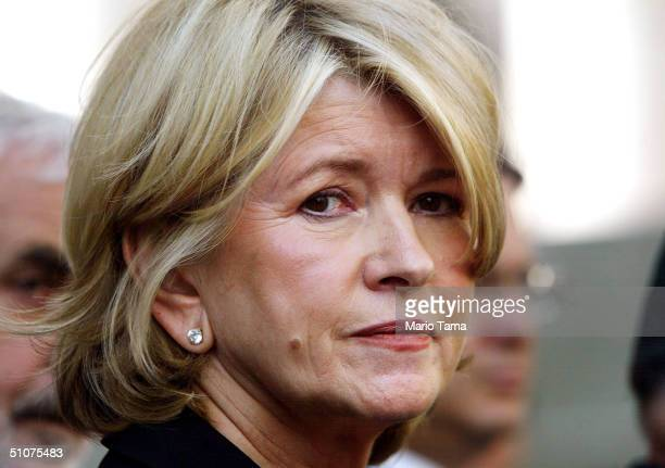 Martha Stewart stands outside Federal Court after her sentencing hearing July 16 2004 in New York City Stewart was sentenced to five months in...