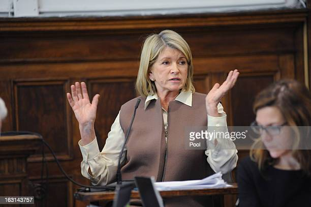 Martha Stewart testifies in Manhattan Supreme Court March 5 2013 In New York City Stewart is testifying after Macy's Department Store sued the rival...