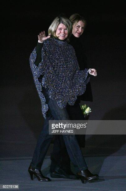 Martha Stewart walks with her daughter Alexis to board a chartered plane at the Greenbrier Valley Airport in Lewisburg West Virginia 04 March 2005...