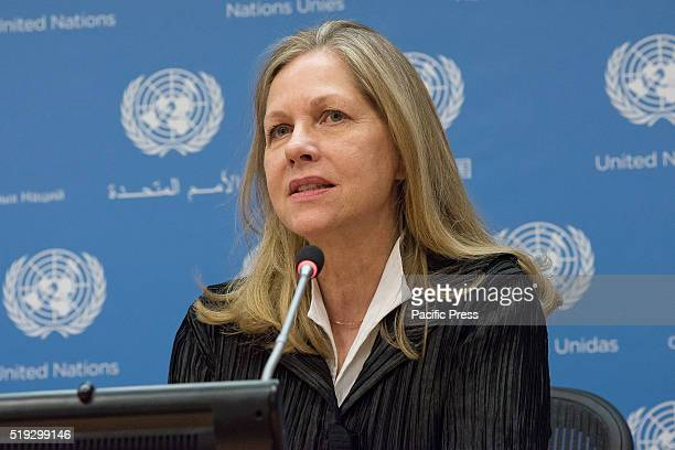 Martha Thorne speaks at to the press In conjunction with the 2016 Pritzker Architecture Prize ceremony at United Nations Headquarters the 2016...