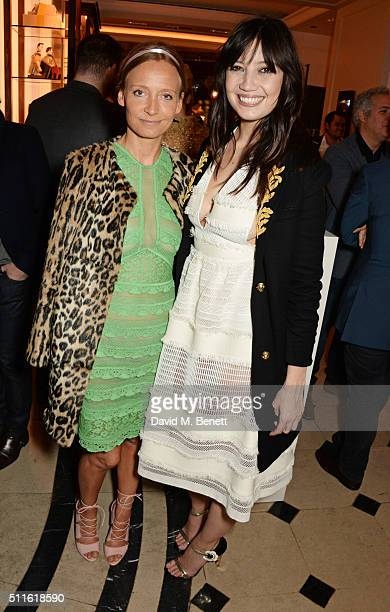 Martha Ward and Daisy Lowe attend as mytheresacom and Burberry celebrate the new MYT Woman at Thomas's on February 21 2016 in London England