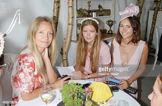 Martha Ward Katie Readman and Lavinia Brennan attend the Pioneering Women's Luncheon at Glorious Goodwood Ladies Day at Goodwood on July 31 2014 in...