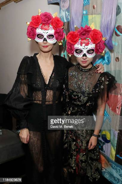 Martha Ward with guest attend Casamigos Tequila 'Day of the Dead' VIP party at The Mandrake Hotel on November 01 2019 in London England