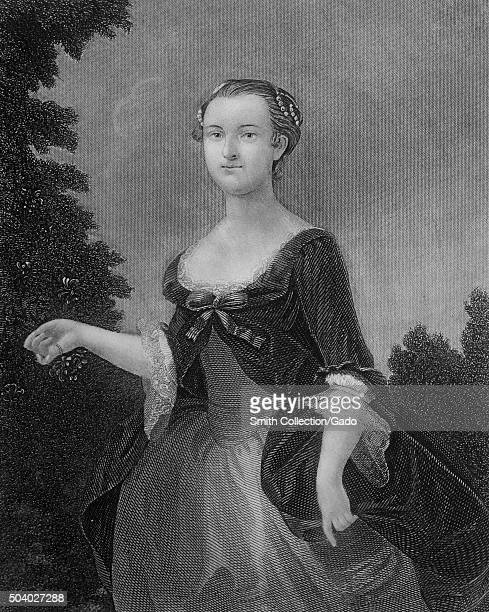 Martha Washington first lady and wife of George Washington the first president of the United States steel cut engraving of Martha Washington as a...