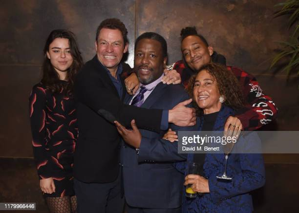 Martha West Dominic West Wendell Pierce Max Peters and Penny Peters attend the press night after party for Death Of A Salesman at The May Fair Hotel...