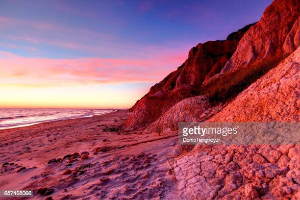 marthas vineyard colorful aquinnah cliffs - martha's_vineyard stock pictures, royalty-free photos & images