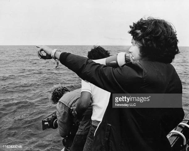 Martha's Vineyard Mass Steven Spielberg directs a scene of Jaws with on the waters of the Nantucket Sound off of Martha's Vineyard Massachusetts on...