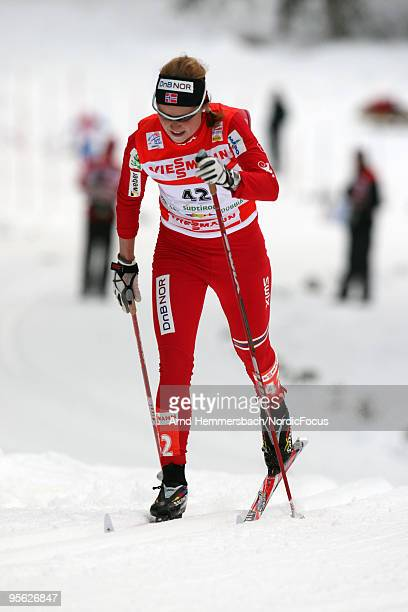 Marthe Kristoffersen of Norway competes during the 5km women for the FIS Cross Country World Cup Tour de Ski on January 07 2010 in Toblach...