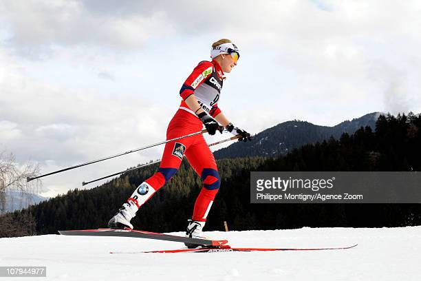Marthe Kristoffersen of Norway competes during the FIS CrossCountry World Cup Tour de Ski Womens 9 km Final Climb on January 9 2011 in Val di Fiemme...