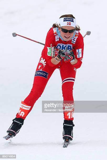 Marthe Kristoffersen of Norway competes during the Ladies Cross Country Sprint Qualification race at the FIS Nordic World Ski Championships 2009 on...