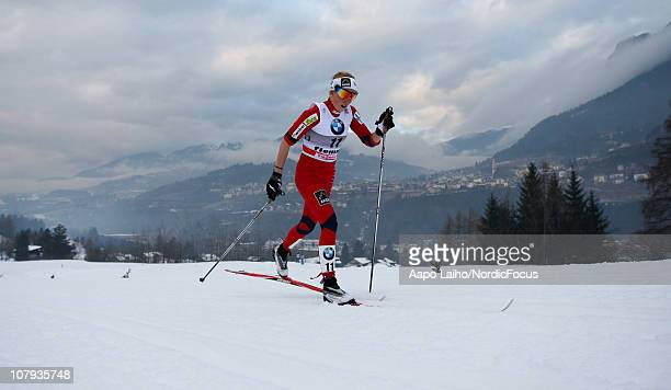Marthe Kristoffersen of Norway competes during the mass start women event of the FIS World Cup Tour De Ski on January 8 2011 in Val di Fiemme Italy