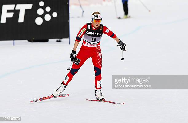Marthe Kristoffersen of Norway competes during the women´s final climb of the FIS Cross Country World Cup Tour de Ski on January 9 2011 in Val di...