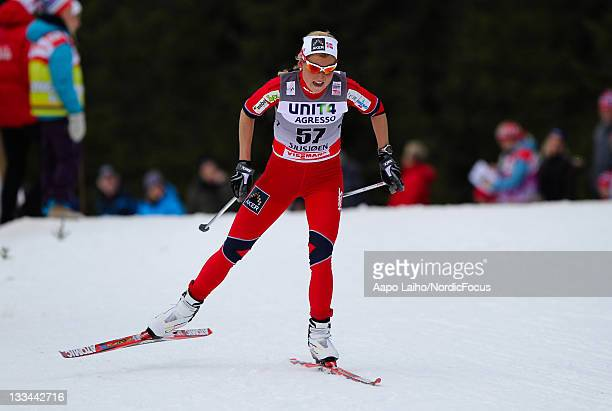 Marthe Kristoffersen of Norway competes in the womens individual 10km free technic Cross Country Skiing during the FIS World Cup on November 19 in...