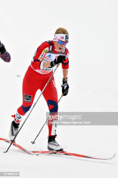 Marthe Kristoffersen of Norway during the FIS CrossCountry World Cup Women's 4x5 km Relay on December 19 2010 in La Clusaz France
