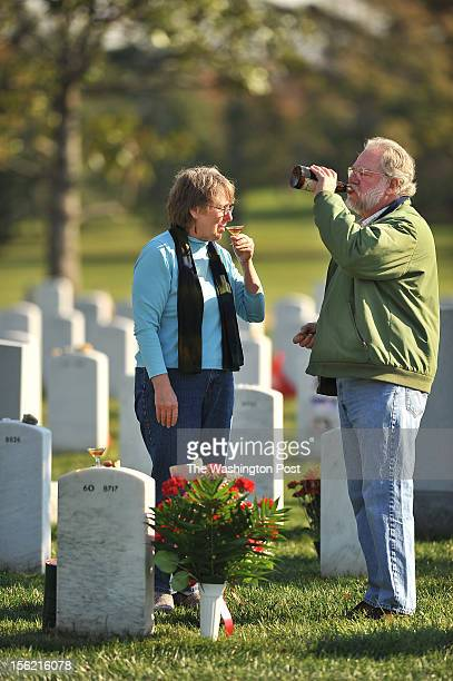 Marti Kirkpatrick center and her husband Ed Kirkpatrick take a drink of Single Malt Scotch in honor of their son U S Army Sergeant Scott Lange...