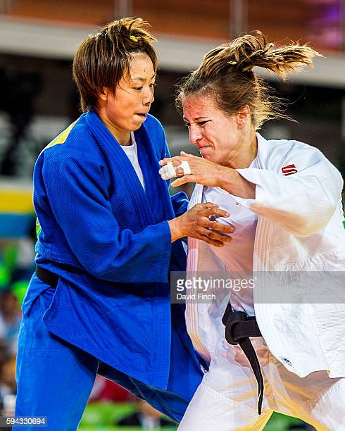 Marti Malloy of the United States attacks ChenLing Lien of Taipei in the closing seconds of their u57kg contest but lost the match by 2 shido...