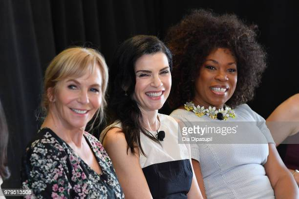 Marti Noxon Julianna Margulies and Lorraine Toussaint speak onstage during the 'KickAss Women of AMC' Panel at the AMC Summit at Public Hotel on June...
