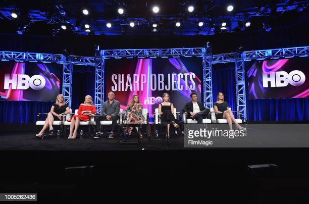 Marti Noxon Patricia Clarkson JeanMarc Vallee Amy Adams Eliza Scanion Chris Messina and Gillian Flynn speak onstage at HBO Summer TCA 2018 at The...