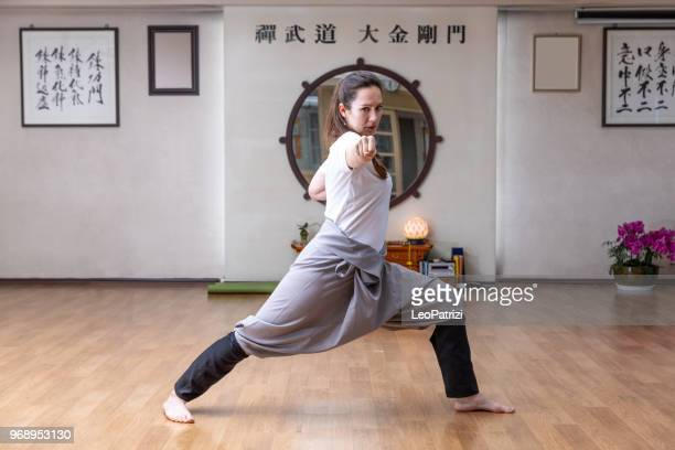 martial art training in the studio - kung fu stock photos and pictures