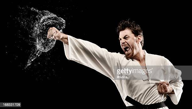 martial art water splash punch - funny boxing stock photos and pictures