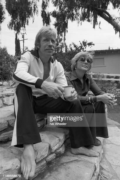 Martial artist and star of action movies Chuck Norris in the garden of his home in Palos Verdes California with his wife Dianne Kay Holechek
