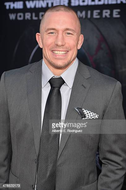 """Martial artist Georges St-Pierre attends Marvel's """"Captain America: The Winter Soldier"""" premiere at the El Capitan Theatre on March 13, 2014 in..."""