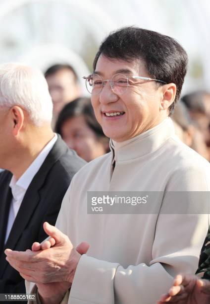 Martial artist Jackie Chan attends the unveiling ceremony of Golden Rooster sculpture during the 28th China Golden Rooster and Hundred Flowers Film...