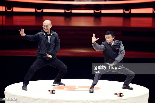 Martial artist Jet Li Lianjie and Alibaba Chairman Jack Ma perform Tai Chi at a television variety show on November 15 2017 in Beijing China