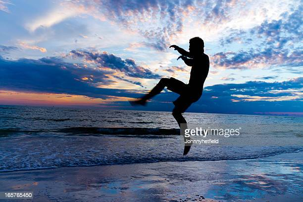 Martial artist kicks at sunrise