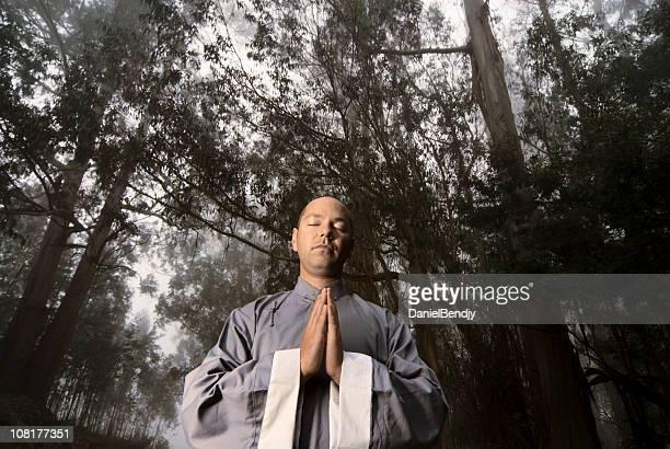 家の男性森林の瞑想 - 少林寺 ストックフォトと画像