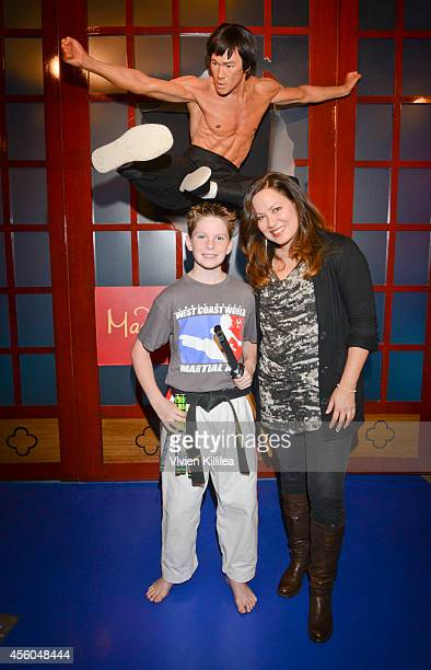 Martial artist Noah Fort and president of the Bruce Lee Foundation Shannon Lee attend Madame Tussauds Hollywood Unveils New Bruce Lee Figure...