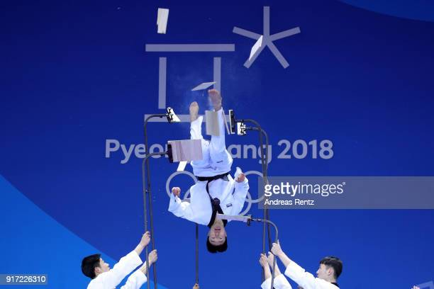 A martial artist performs during the medal ceremonies at Medal Plaza on February 12 2018 in Pyeongchanggun South Korea