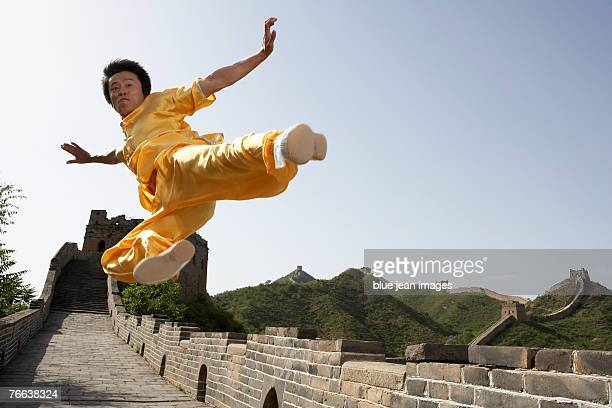A martial artist practicing on the Great Wall of China.
