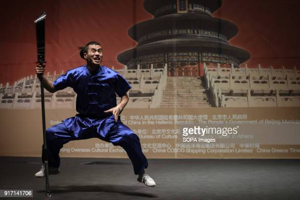 A martial artist seen performing alone during the 'Chinese New Year Night of Beijing' event The Beijing National Orchestra holds the Chinese New Year...