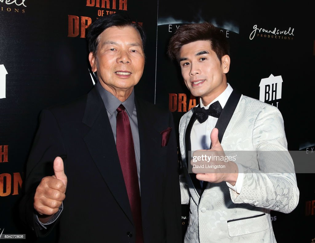 Martial artist Wong Jack Man (L) and actor Philip Ng attend the premiere of WWE Studios' 'Birth of the Dragon' at ArcLight Hollywood on August 17, 2017 in Hollywood, California.