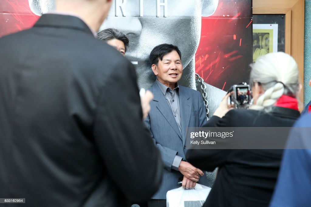 Martial artist Wong Jack Man (C) poses for fan photos at a special screening of BH Tilt & WWE Studios' 'Birth of the Dragon' at the AMC Dine-In Kabuki 8 theater on August 16, 2017 in San Francisco, California.
