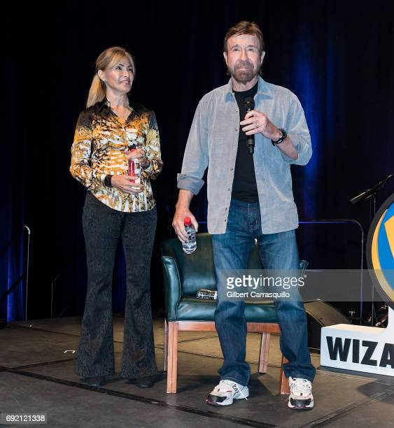 Martial artist/actor Chuck Norris and wife Gena O'Kelley make their Wizard World Comic Con debut during Wizard World Comic Con Philadelphia 2017 Day...