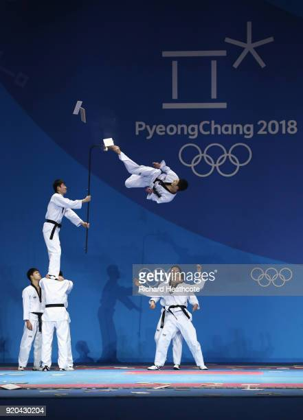 Martial artists perform on stage prior to the Medal Ceremony on day 10 of the PyeongChang 2018 Winter Olympic Games at Medal Plaza on February 19...