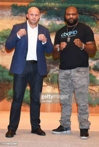Martial arts fighters Fedor Emelianenko and Quinton Jackson attend the Bellator Japan x Rizin Press Conference at the Meguro Gajoen Hotel on October...