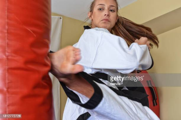 martial arts spin move - gerville stock pictures, royalty-free photos & images