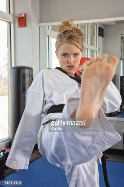 martial arts strikes - gerville stock pictures, royalty-free photos & images