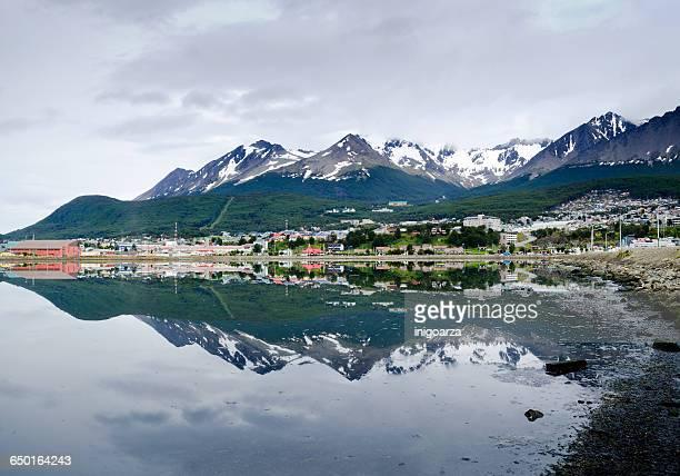 Martial Glacier and city of Ushuaia, Tierra del Fuego, Argentina