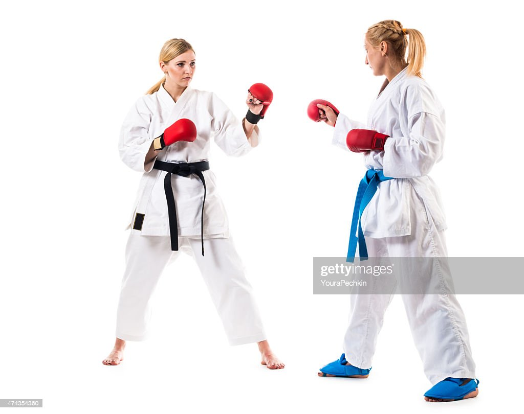 Martial training, two fighters : Stock Photo