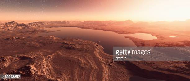martian landscape with lakes, water - mars stock pictures, royalty-free photos & images