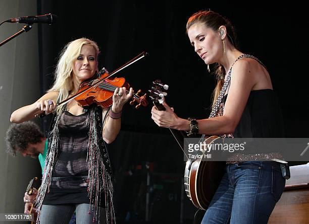 Martie Maguire and Emily Robison of Court Yard Hounds performs at the 2010 Lilith Fair at Verizon Wireless Music Center on July 20 2010 in...